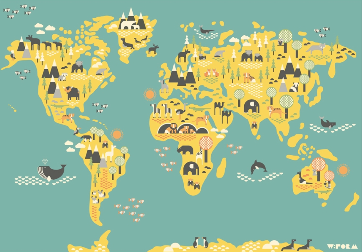 verdenkort til børn, børne verdenskort, atlas til børn, børneværelse, atlas til børneværelset, verdenskort til børneværelset