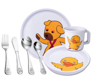 Barneservice Bamse og Kylling, serverings sæt til babyer, bamse og kylling,
