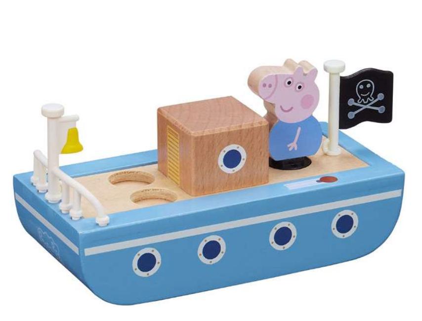 Gustav Gris båd, Gurli gris skib, trælegetøj med Gurli Gris, Gaver til 2-årige drenge, gaver til 2 årige, gaver til 2 år drenge