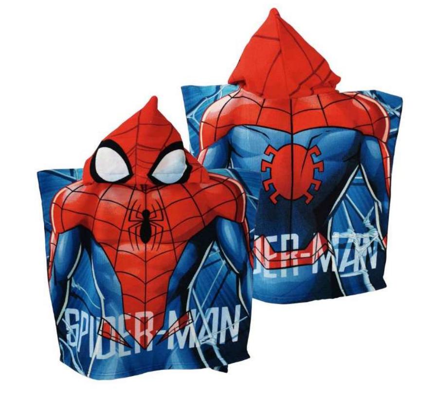 Spiderman håndklæde, håndklæde med spiderman, Håndklæde poncho til drenge, Spiderman håndklæde poncho