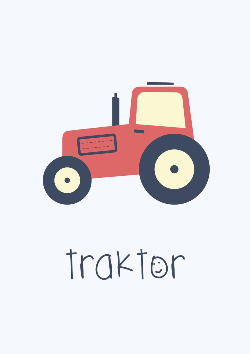 traktor, børneplakat, baby, børn, barn, børneværelse, børneværelset, plakat, paster farver, pastel, flot, simpel