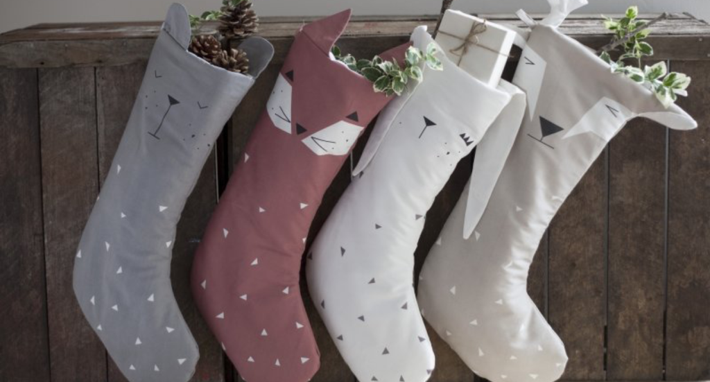 fabelab julesok, fabelab julesok med bjørn, fabelab julesok med rensdyr, fabelab julesok med kanin, fabelab julesok med ræv, moderne julesok, julesok til børneværelset