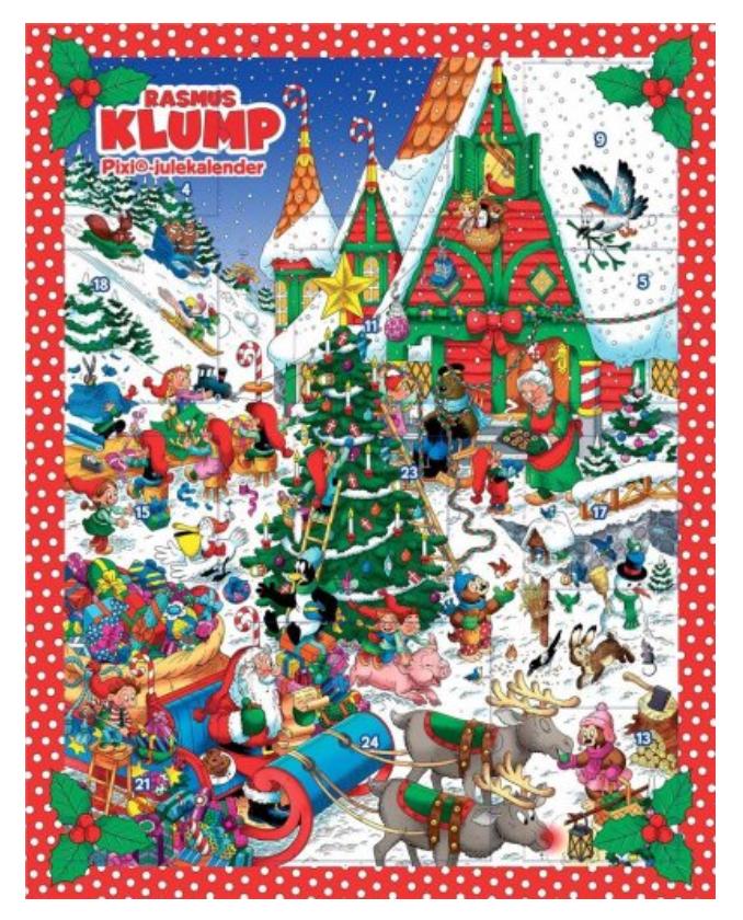 Rasmus klump PIxi bog julekalender, PIXI bog julekalendere, julekalender med pixi bøger, Rasmus Klump og vennerne bøger, julekalender med Rasmus Klump og vennerne