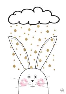 guld-regn-kanin-gratis-plakat