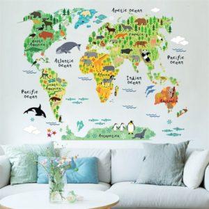 verdenskort-med-klodens-dyr-wallsticker-p