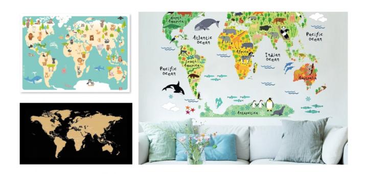 verdenskort, verdenskort børneværelse, børneværelse verdenskort, atlas børneværelse, atlas pigeværelse, atlas drengeværelse, børne verdenskort, verdenskort børn