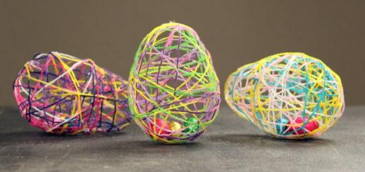 snor æg, kreative påske æg, sådan lave du et unikt påske æg, påske jagt, påske æg til skattejagt, chokolade æg indeni snor æg