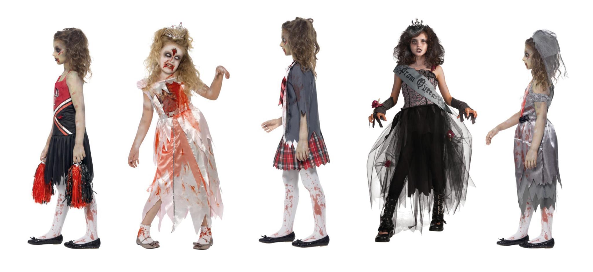 Zombie kostume, zombie kostumer til piger, børne zombie kostumer, kostumer til børn, halloween kostumer til børn, zombie prinsesse, prinsesse zombie, skolepige zombie, cheerleader zombie