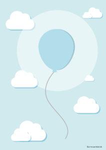 Ballon plakat, baby plakat, baby plakat til børneværelset, plakat til børn, plakat til børneværelset, gratis plakater, gratis børneplakater, blå ballon, blå ballon plakat
