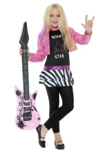 kostume til piger, kostume til børn, rock stjerne zombie kostume, billigt kostume til piger, billigt zombie kostume, rock star kostume