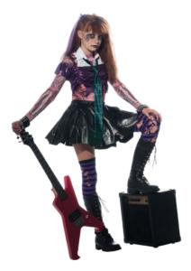 Zombie kostume til piger, zombie kostume til børn, rock stjerne zombie kostume, billigt zombie kostume til piger, billigt zombie kostume, rock star zombie kostume