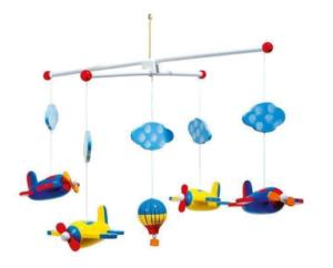 Uro med flyvemaskiner, flyvemaskine uro, uroer til børneværelset, uro med fly