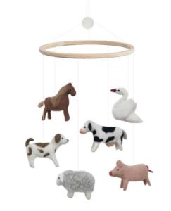 Uro med dyr, uro med bondegårdsdyr, bondegårdsdyr, dyr fra bondegården, filt uroer, uroer med filt