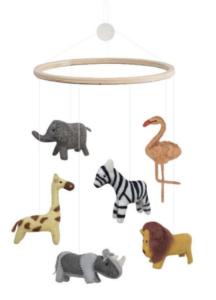 Uro med dyr, uro med dafari dyr, safari dyr, dyr fra bondegården, filt uroer, uroer med filt