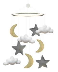 Måne uro, måne og stjerner uro, uro med måne og stjerner, uro til babyer, baby uroer