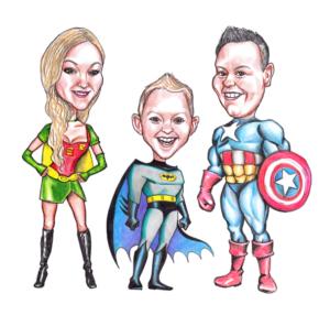 karikaturtegning af familie, karikatur tegning, betil karikatur tegning online, karikaturtegning mandelgave, mandelgave til børn, mandelgave 2019
