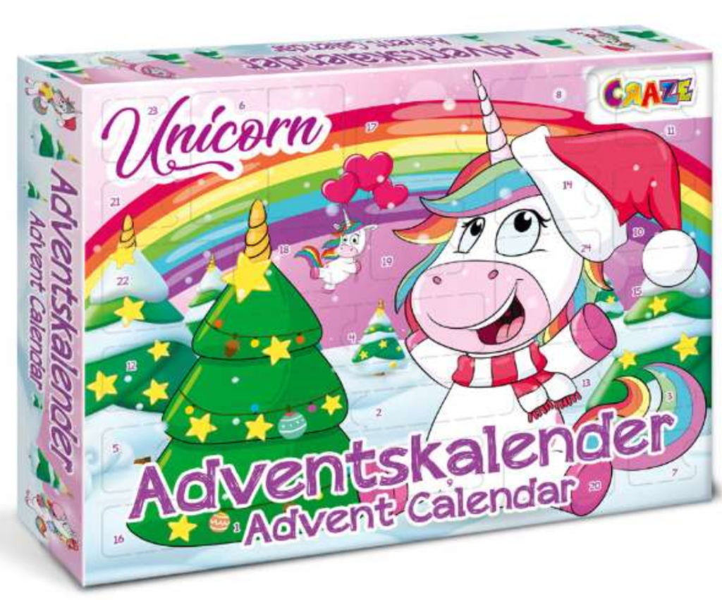 Julekalender med unicorn, unicorn julekalender, enhjørning julekalender, julekalendere til børn, julekalendere til piger, piget juleklaendere,