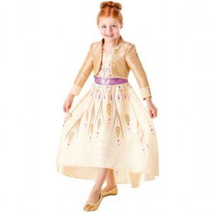 Anna guldkjole, frost 2 Anna guldkjole, fastelavnskostume med frost, anna frost fastelavns kostumer, udklædnings kjoler med frost, Anna kostume, anna kjole fra frost 2