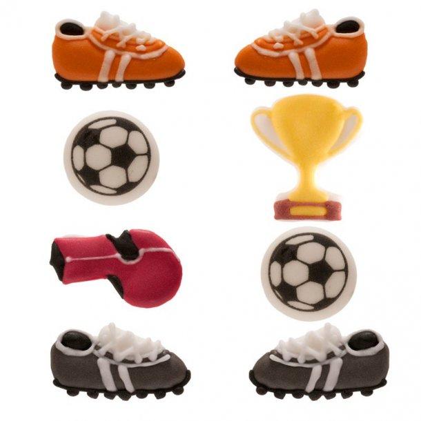 Sukkerdekoration med fodbold, fodbold sukkerdekoration, tilbehør til fodboldkage, dekoration til fodbold kage