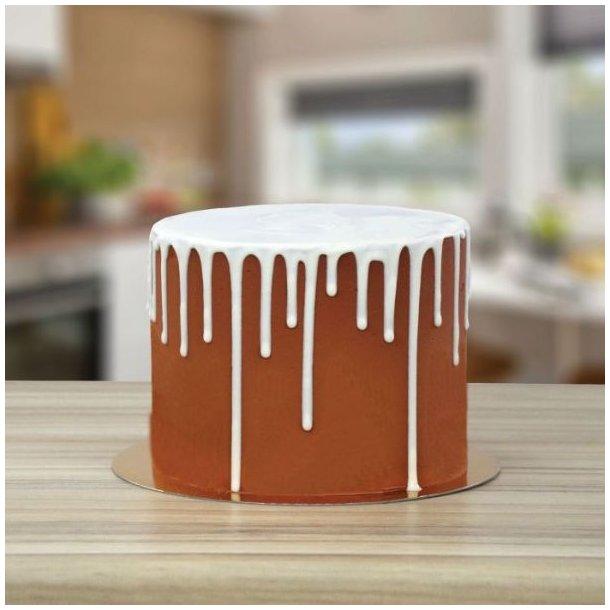 hvid flydende drip til kager, hvid væske til kager, hvid glatur til kager, løbende effekt på kager, Frozen kage,