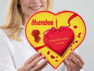 Chokoloade hjerte med marabou, chokolade med personlig besked, mandelgave 2021, far´s dags gave, gaver til Far´s dag, chokoladeæske med navn, Personlig chokolade
