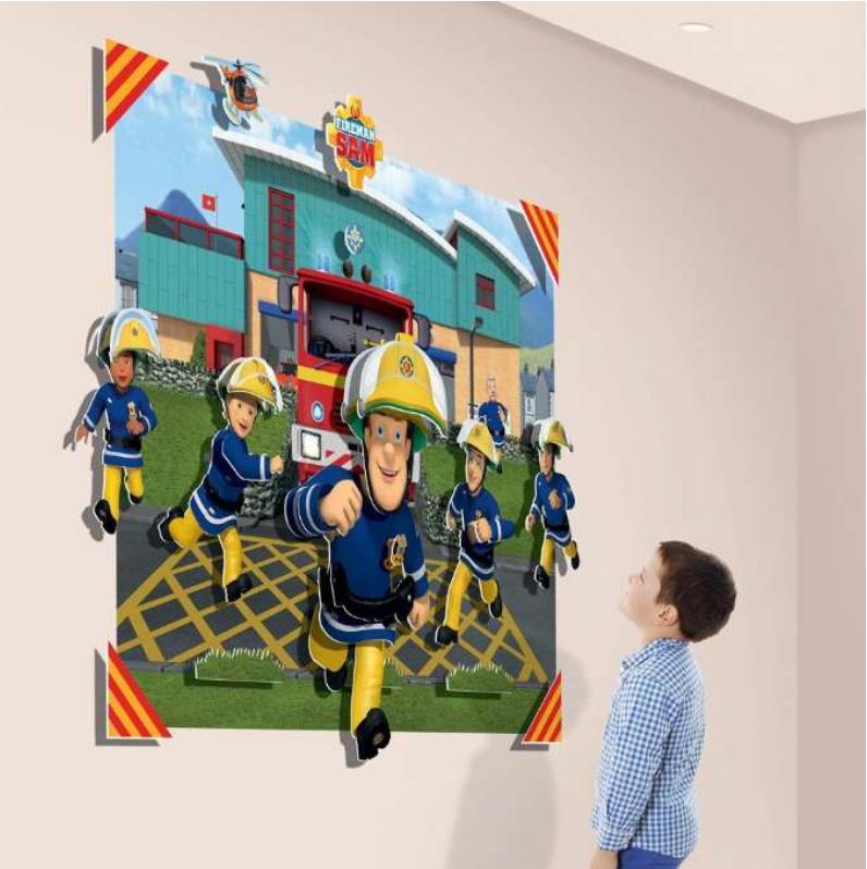 3D Brandman Sam wallsticker, Brandman Sam wallsticker, wallstickers til børneværelset, 3D wallstickers, Gave til 3-årige drenge