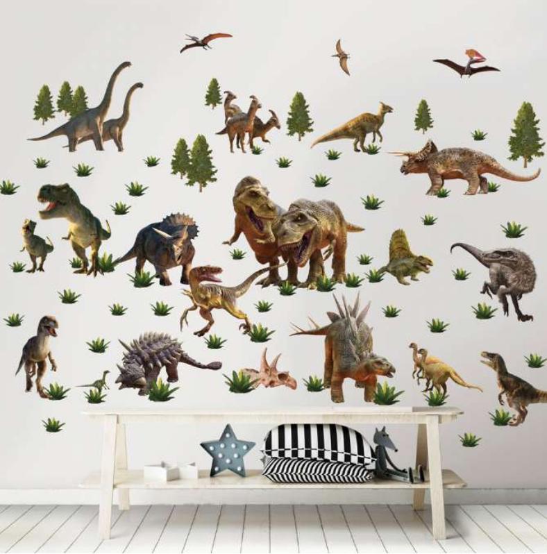 Wallstickers til børneværelset, børneværelse Wallsticker, Wallstickers til drengeværelset, Dinosaurus Wallstickers, Gave til 3-årige drenge