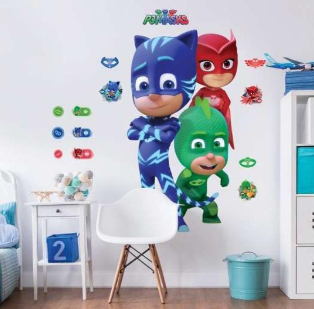 Pj mask wallsticker, Pyjamasheltene Wallstickers, wallstickers til drengeværelset, wallsticker til børneværelset, Gaver til 3-årige drenge