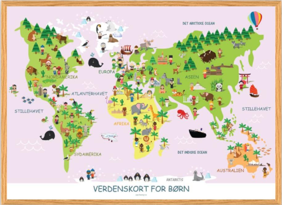 Verdenskort til børneværeslet, børneværelset indretning, Verdenskort til børn, verdenskort til piger,