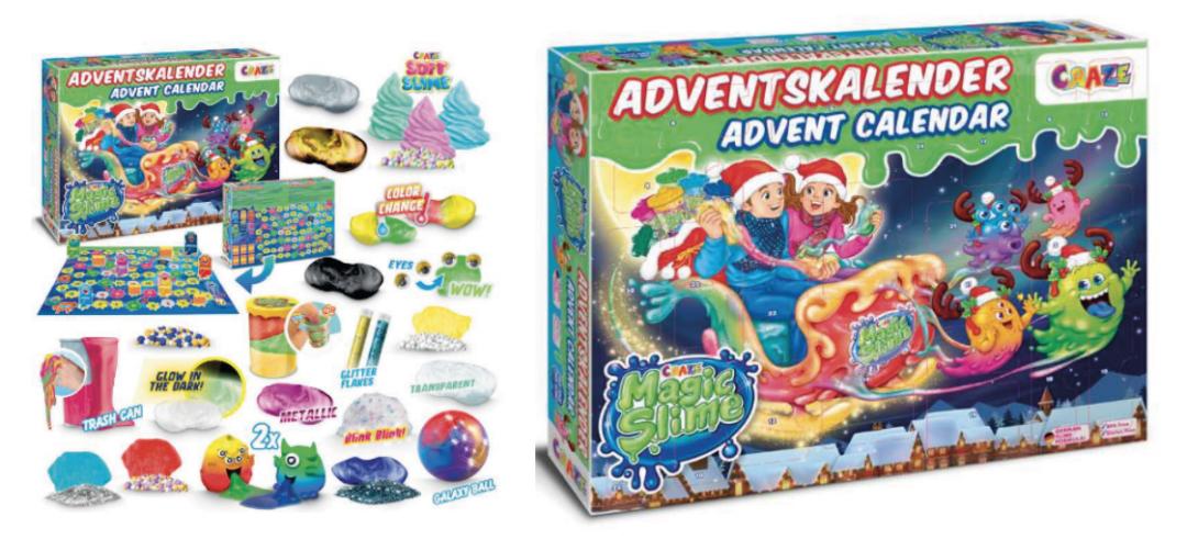 slime julekalender, julekalender med slim, magic slime julekalender, adventskalender med slim, slim adventskalender, legetøjsjulekalender til børn, legetøjsjulekalender til drenge, pige legetøjsjulekalender
