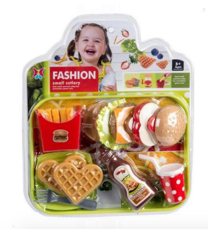 legemad med burger, legetøjsmad, plastik mad til børn, plastik mad
