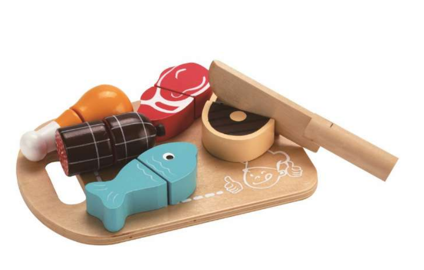 træ legetøj, legetøjs kød, legetøjs fisk, lærerigt legetøj, mad legetøj
