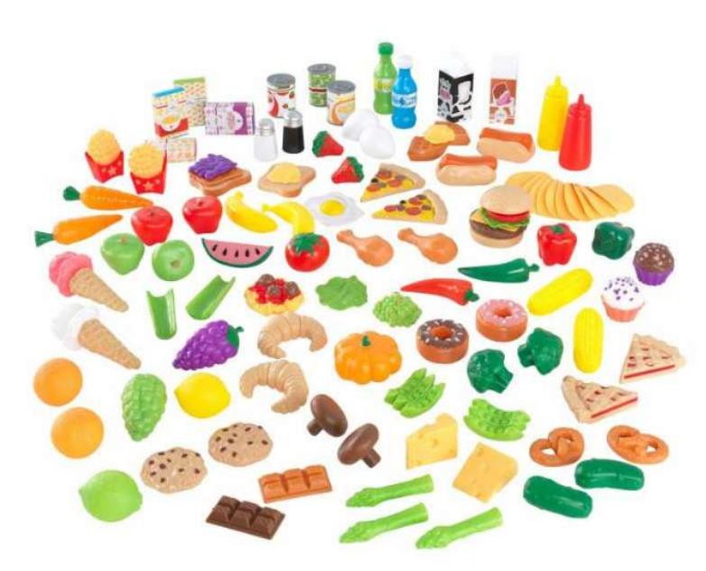 Legemad til børn, Børne legemad, legetøj til børn, legekøkken til børn, plastik mad, legetøjsmad,  Legemad Deluxe 115 stk
