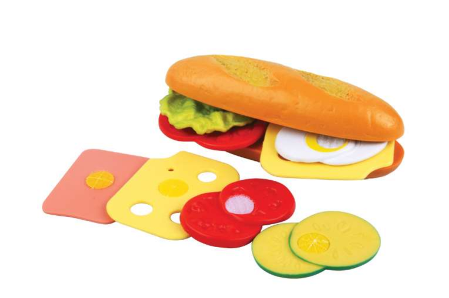 lege sandwich, sandwich legemad, Legemad til børn, Børne legemad, legetøj til børn, legekøkken til børn, plastik mad, legetøjsmad
