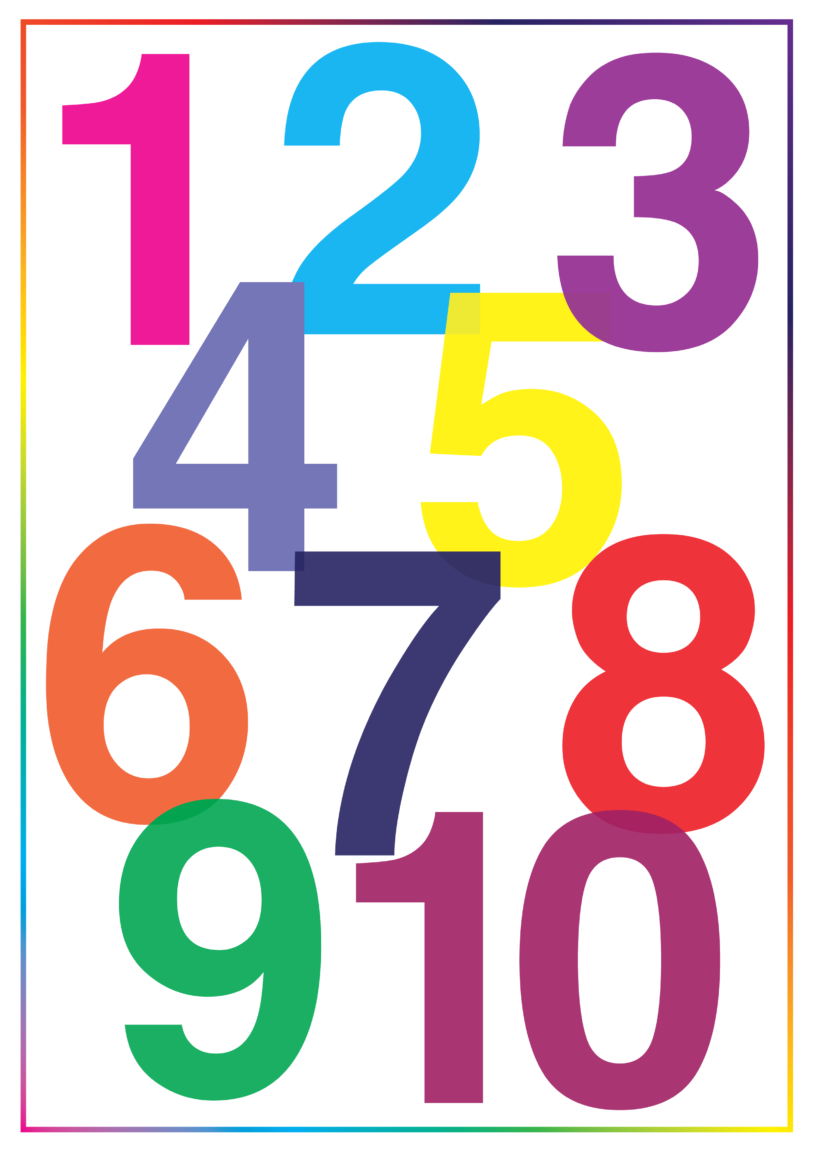 Farvet tal plakat, Tal plakat, plakat med tal, gratis plakater, gratis plakater til børn, gratis børneplakater, Gratis plakater til børneværelset