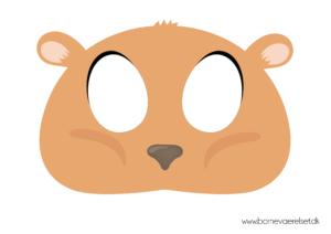 Hamster maske, maske med hamster, hamster ansigt maske, gratis maske, gratis dyremaske, masker til børn, gratis masker til børn, print selv maske