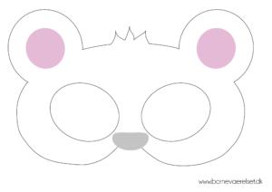 isbjørne maske, Hvid bjørn maske, udklædningsmaske, Fastelavnsmaske, dyremaske, maske med dyr, maske med isbjørn,