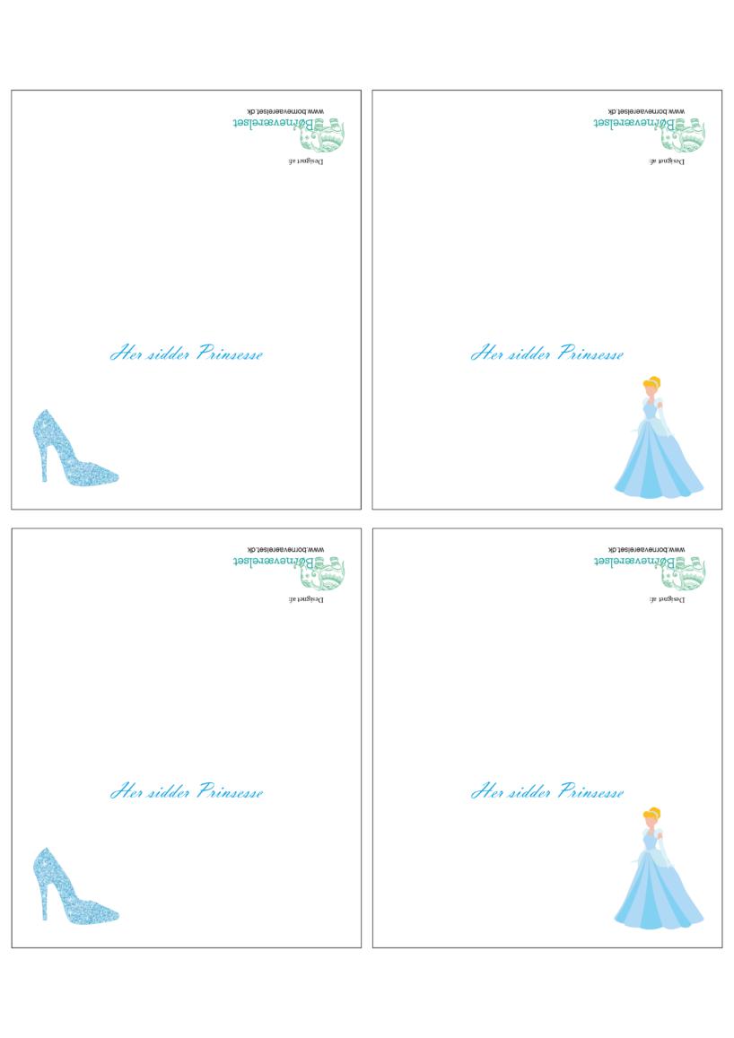 Askepot bordkort, Bordkort til børneføselsdag, Aksepot bordkort, Askepot børnefødselsdag, Askepot fødselsdag, Gratis bordkort, Prinsesse bordkort