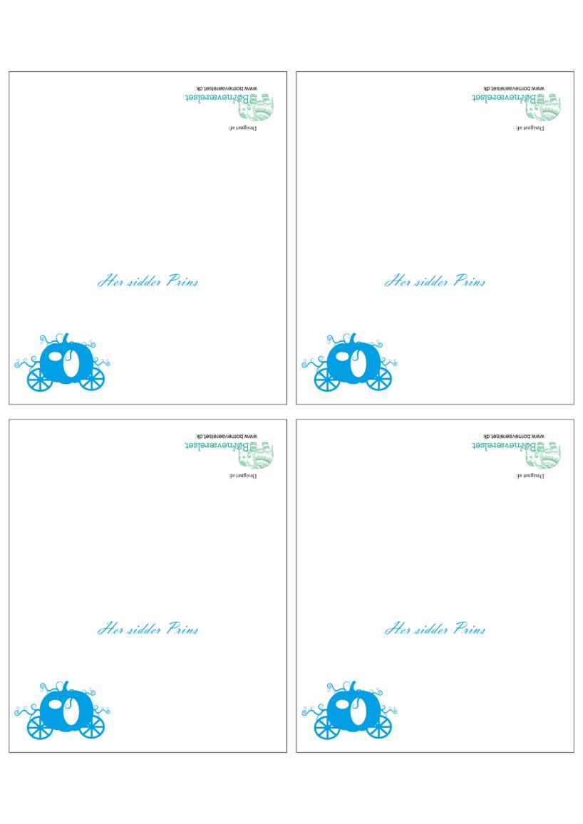 Askepot bordkort, Bordkort til børneføselsdag, Aksepot bordkort, Askepot børnefødselsdag, Askepot fødselsdag, Gratis bordkort