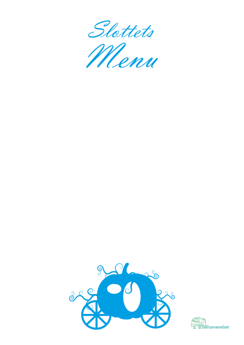 Menukort til fødselsdag, menukort til børnefødselsdag, Aksepot fødselsdag, fødselsdag med Askepot, Menu til børnefødselsdag,