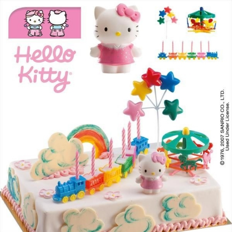 Hello Kitty kagesæt, Kagepynt med Hello Kitty, Hello Kitte fødselsdagskage, Hello Kitty kage