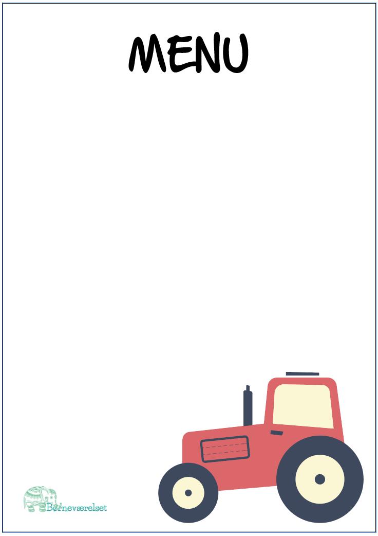 Menukort med Traktor, Fødselsdag menu, Traktor fødselsdag, Gratis bordpynt til fødselsdagen