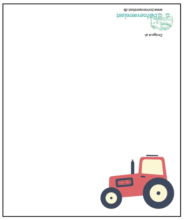Traktor Bordkort, gratis bordkort, Gratis traktor bordkort, bordkort til børnefødselsdag, børnefødselsdag borddækning