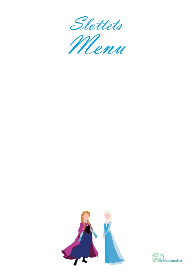 menu til Frost fødselsdag, Frozen fødselsdag, Menukort til børnefødselsdag, Pige fødselsdag med Frost, Fødselsdag med Frozen, Elsa fødselsdag, Anna Fødselsdag, Børnefødselsdag med Frost, Disney fødselsdag