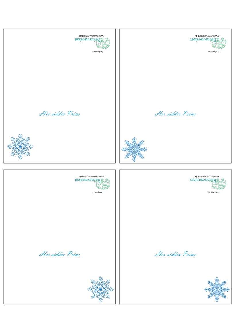 Bordkort til Frost fødselsdag, Frost fødselsdag bordkort, Snefnug bordkort, Frost fødselsdag, Fødselsdag med Frozen, Gratis bordkort, Prins bordkort