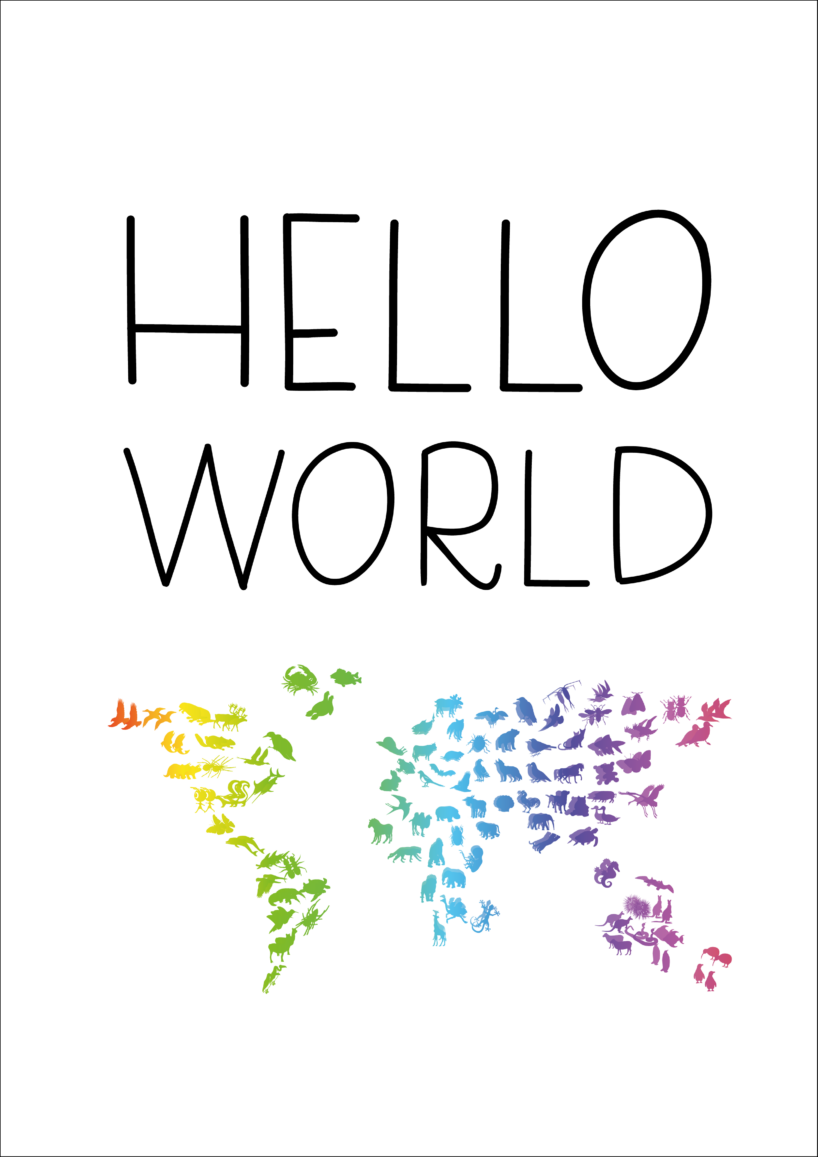 Hello World plakat, Plakat med verden, Gratis plakat til børn, Gratis plakat med verden, verdens plakat, gratis børneplakat