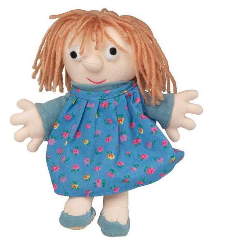 Lotte Dukke, Lotte fra Anne og Lotte, bamse med Lotte, Fjernsyn for dig, Bamser til børn, gave til 3-årige piger