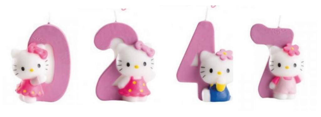 Hello Kitty tal lys, Hello Kitty fødselsdagslys med tal, fødselsdagslys med Tal, Kagelys med Hello Kitty, Hello Kitty fødselsdag