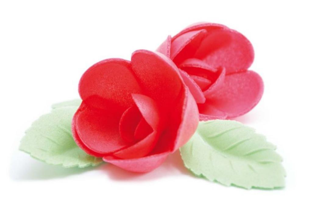 Røde roser og blade i vaffelpapir, blomster i vaffelpapir, flot kagepynt, børnefødselsdag, kagepynt med blomster