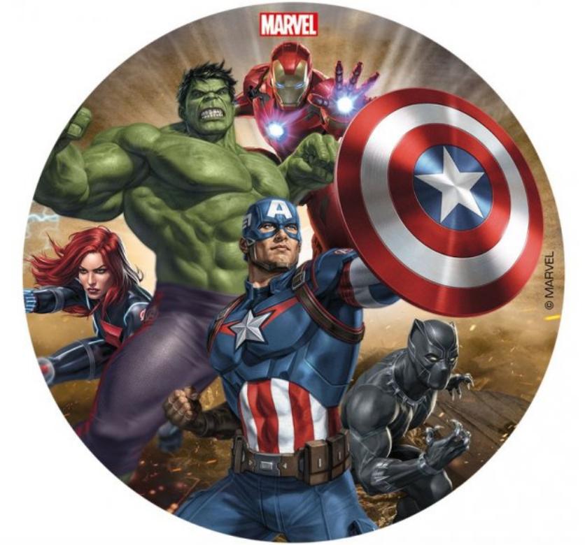 Sukkerprint Avengers, Sukkerprint Avengers kage, drengefødselsdag kage, Avengers fødselsdag